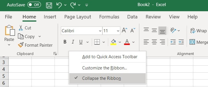 The Excel ribbon - Restore the Ribbon