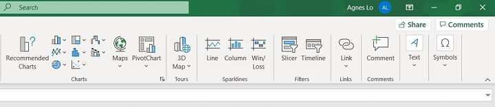 Excel ribbon - insert tab