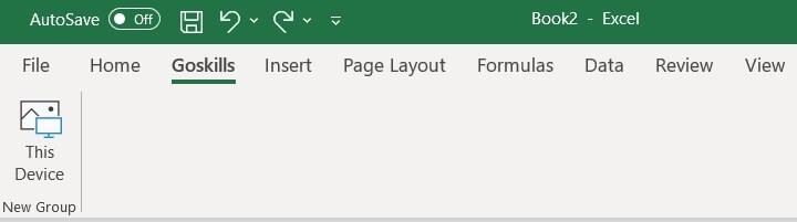 The Excel ribbon - New Tab