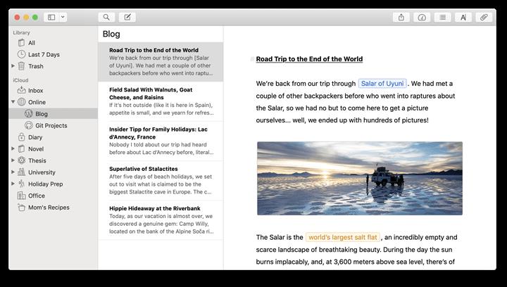 Best note taking app - Ulysses