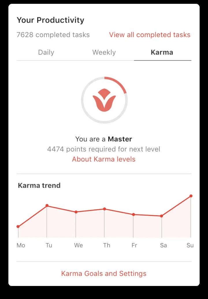 best note taking app - todoist karma