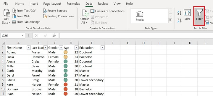 Sorting in Excel - dropdown