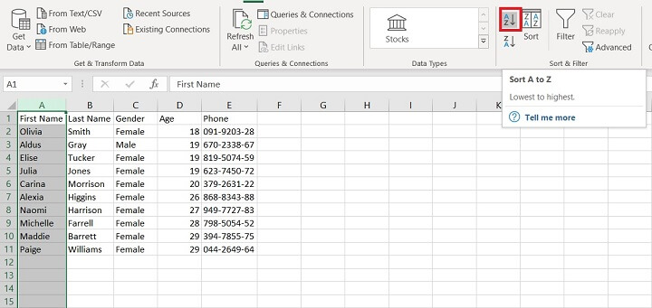 Sorting in Excel - sort icons