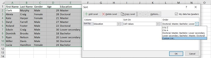 Sorting in Excel - custom