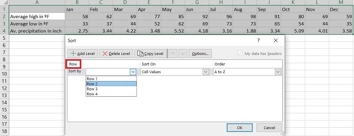 Sorting in Excel - rows