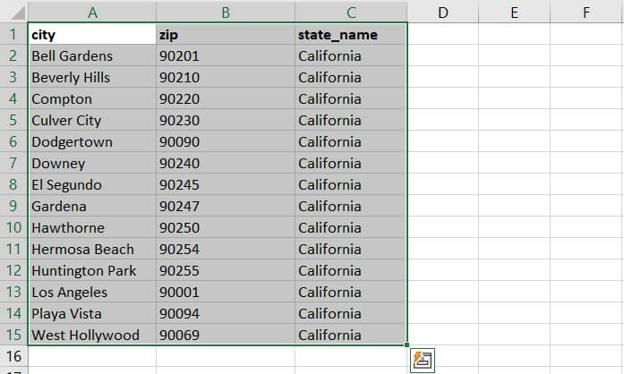 Sorting in Excel - range