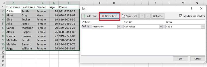 Sorting in Excel - multi level sorting