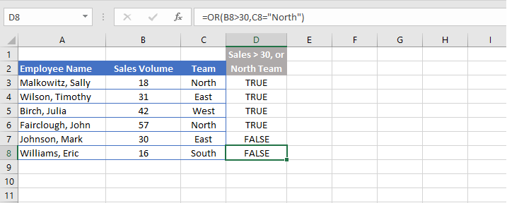 Excel OR function - example