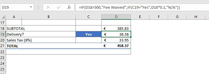 Excel IF function