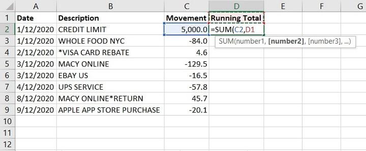 Excel Cumulative Sum - Running Total - SUM