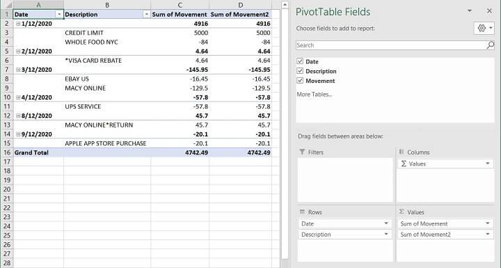 Excel Cumulative Sum - Running Total - PIVOT