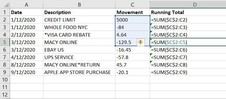 Excel Cumulative Sum - Running Total - MIXED