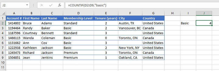 COUNTIF Excel - text criteria