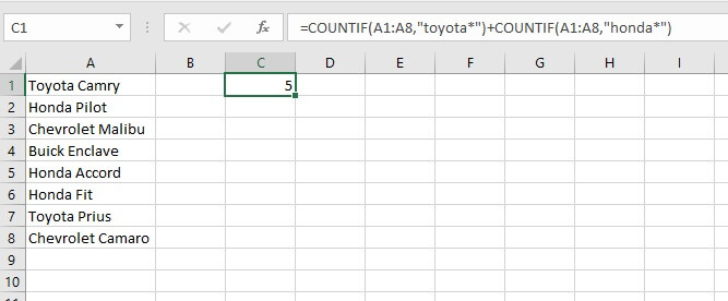COUNTIF Excel - OR logic