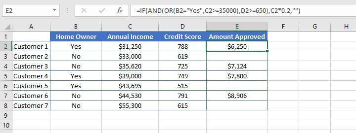 Excel AND function - nesting IF/AND/OR