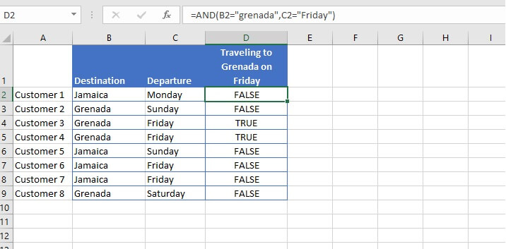 Excel AND function - example