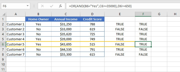 Excel AND function - nesting AND/OR