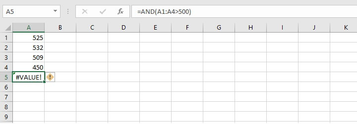 Excel AND function - value error