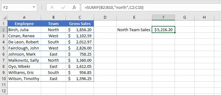sumif Excel - text criteria