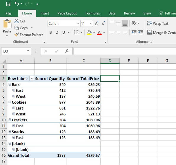 Pivot table calculated field - simple calculated fields