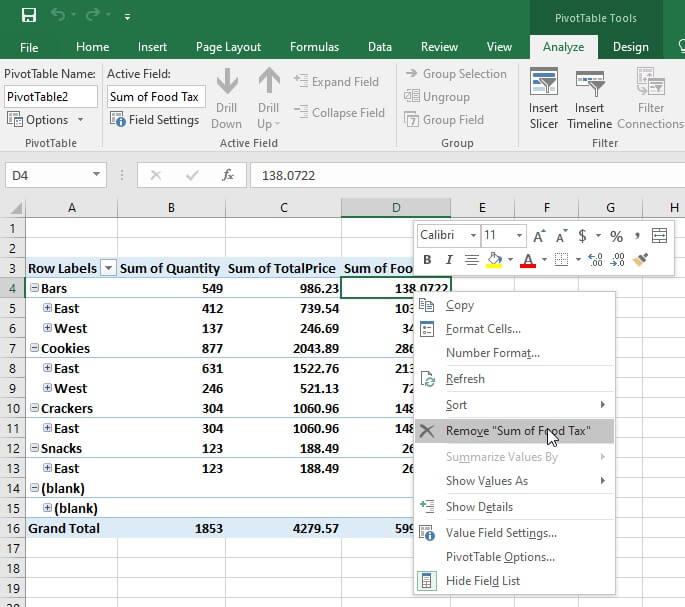 Pivot table calculated field - remove