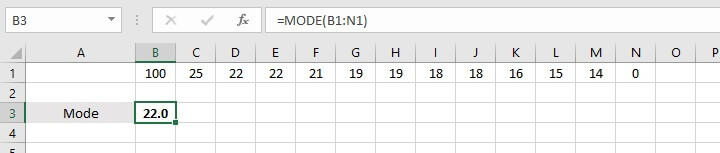 How to calculate average in Excel - MODE