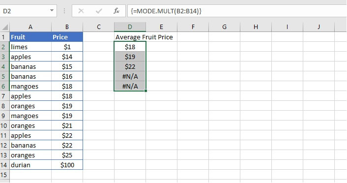 How to calculate average in Excel - MODE.MULT