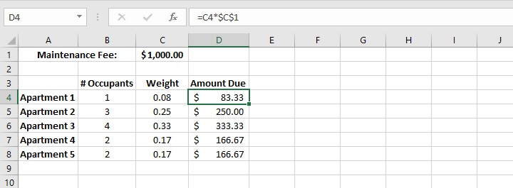 Weighted average Excel