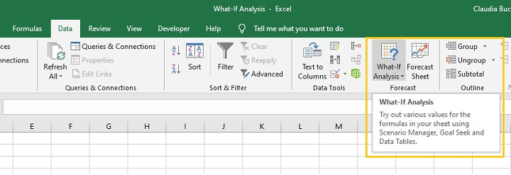 What if analysis Excel