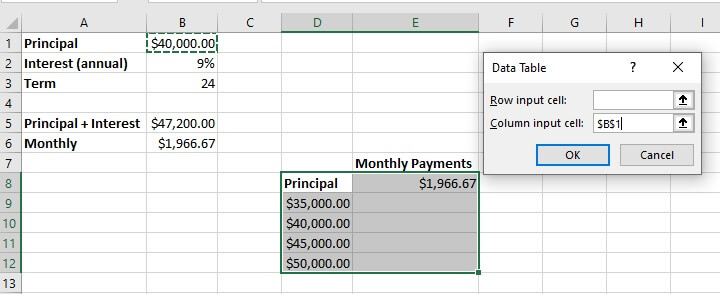 What if analysis Excel - data table