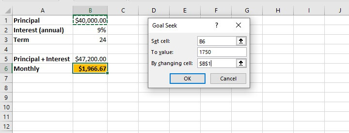 What if analysis Excel - Goal Seek