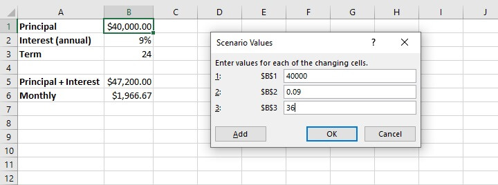 What if analysis Excel - scenario manager