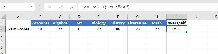 Excel Averageif function
