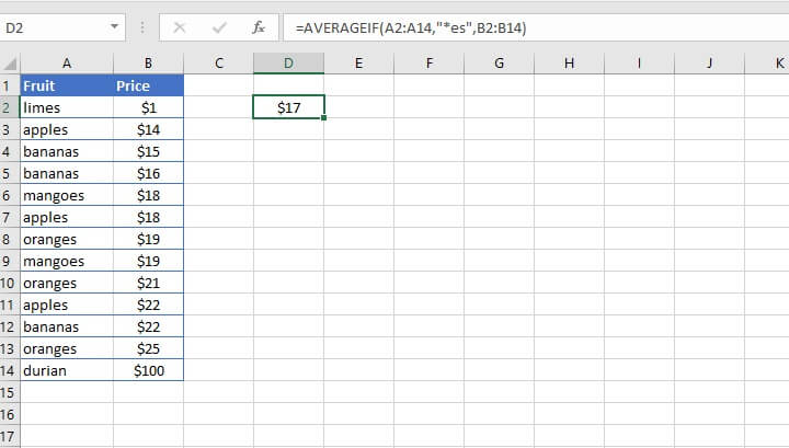 Excel Averageif function - partial matches