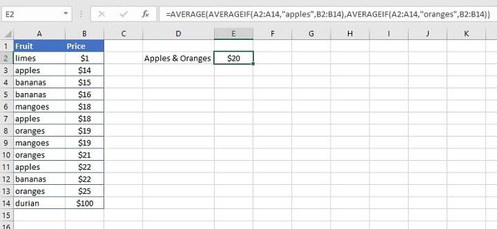 Excel Averageif function - OR logic