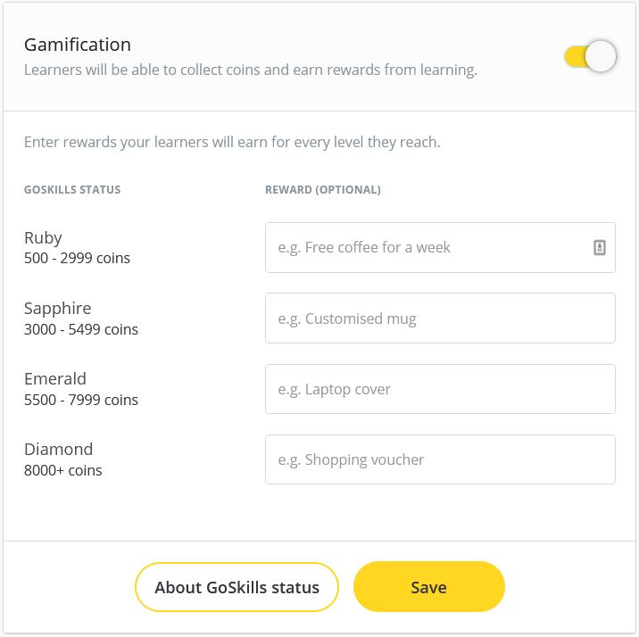 gamification settings - rewards