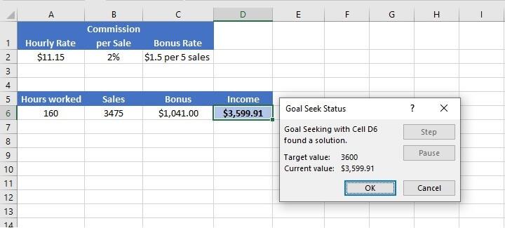 Excel Goal Seek - troubleshooting