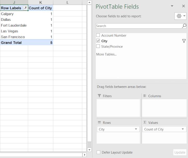 Count unique values Excel - pivot tables