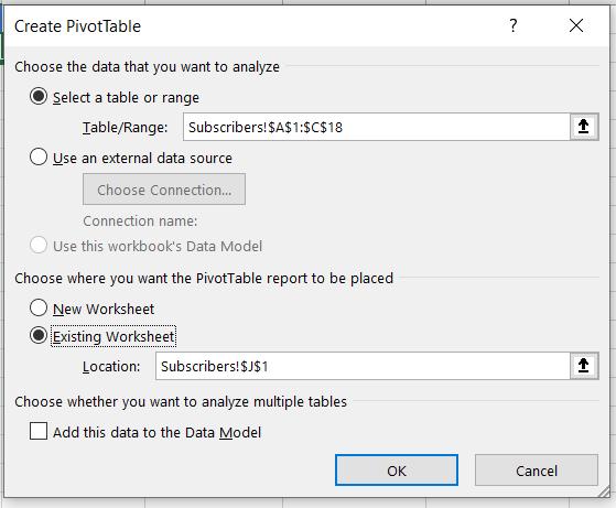 count unique values with pivot table