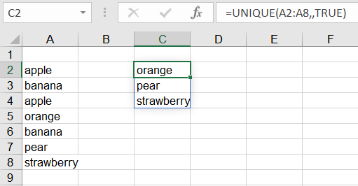 Count unique values Excel - value appears once