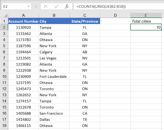 Count unique values Excel - numerical count