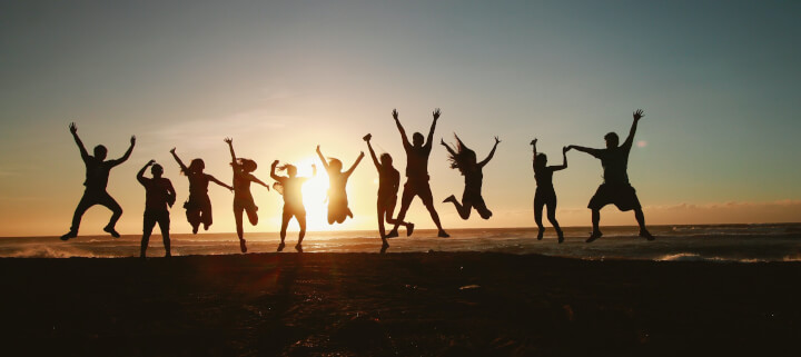 Group celebrating on a retreat