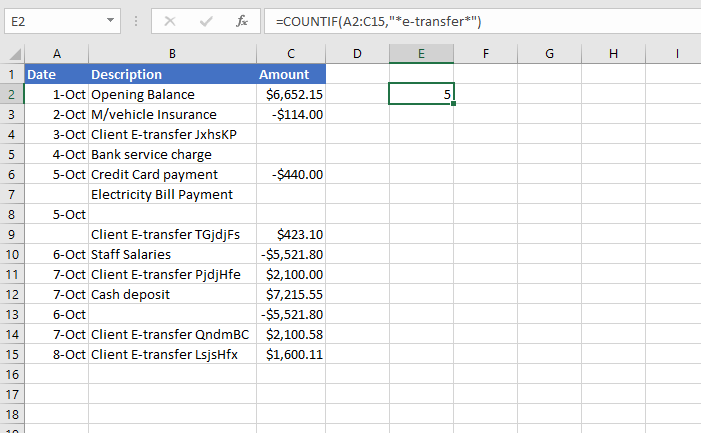 COUNTIF function example