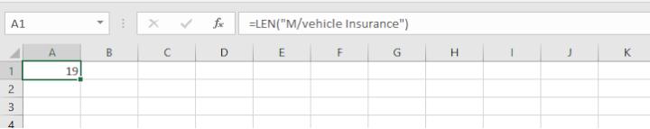 LEN function example 2