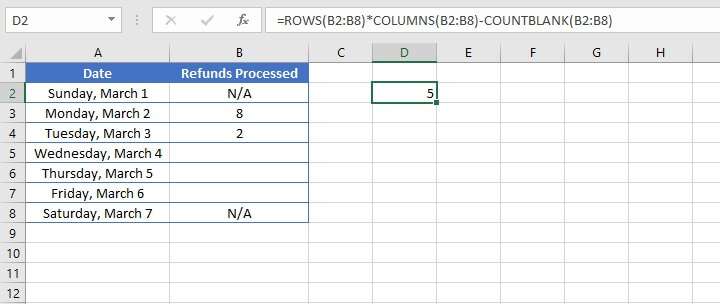 Excel counta - blank result