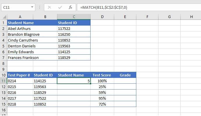 INDEX MATCH example 5