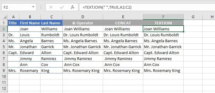 Textjoin Excel