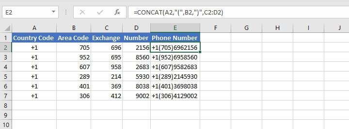 Concat Excel
