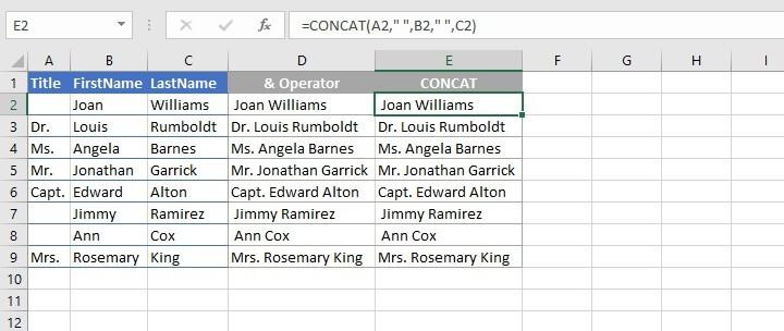 Concatenate Excel - &
