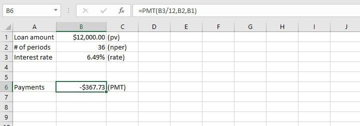 pmt function Excel